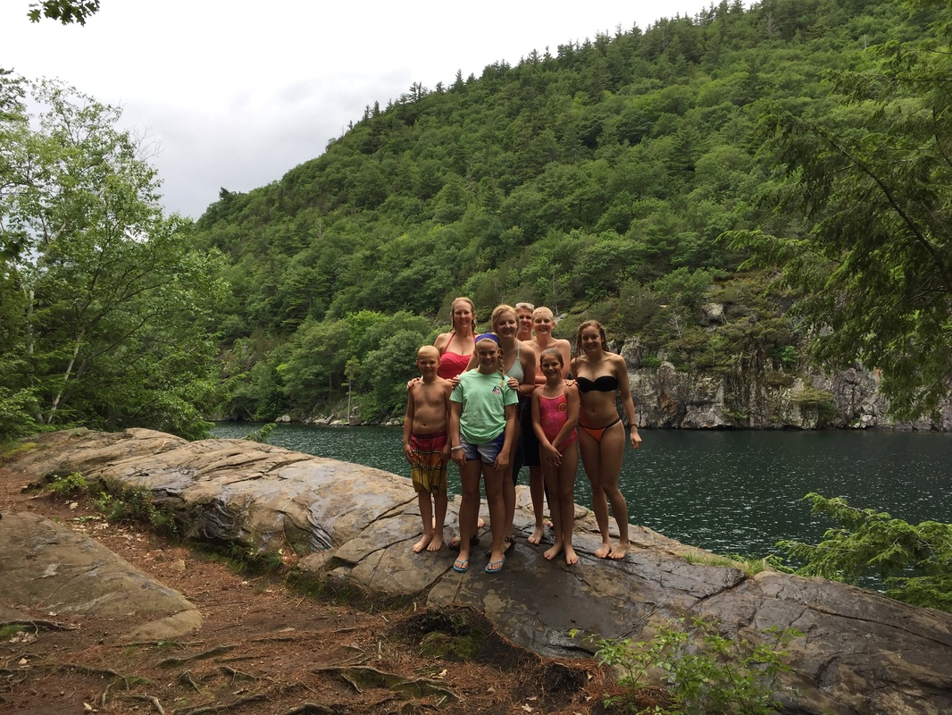 Cliff jumping on Lake George