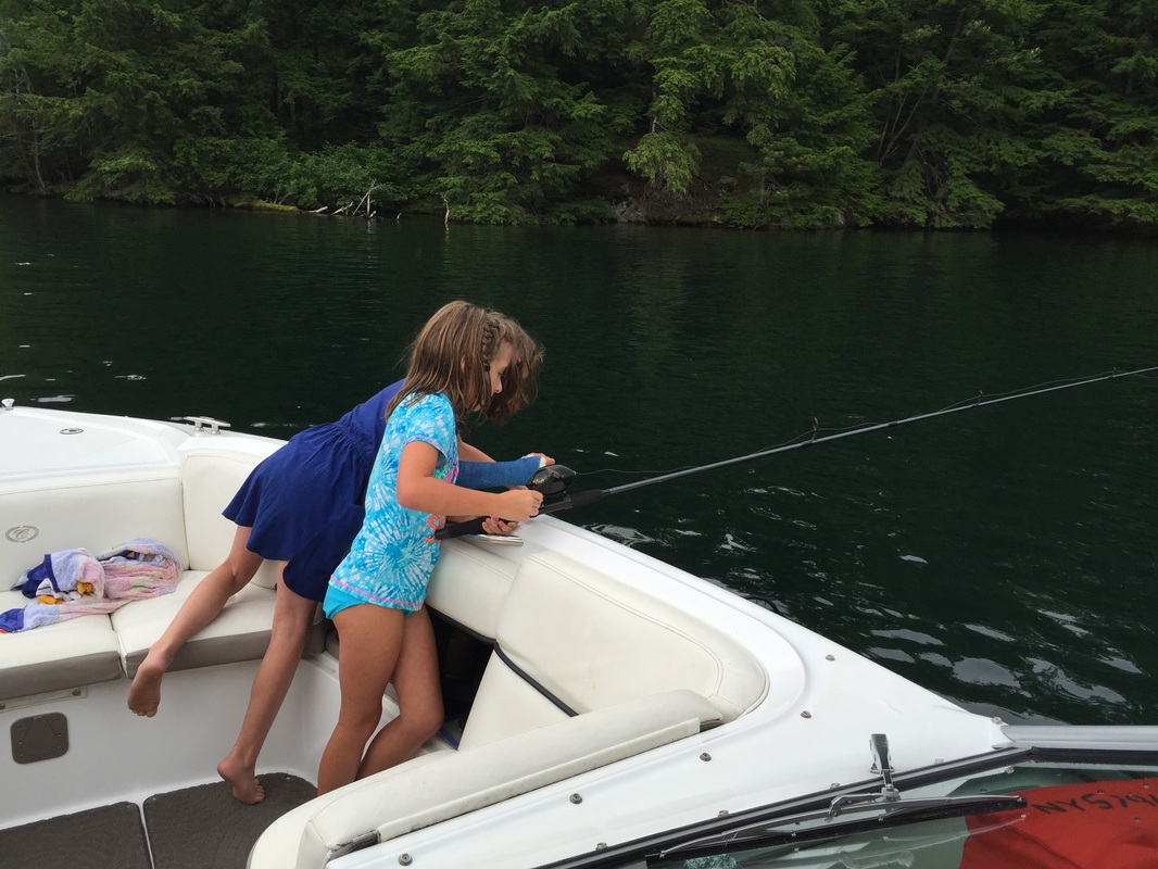Family fishing on Lake George