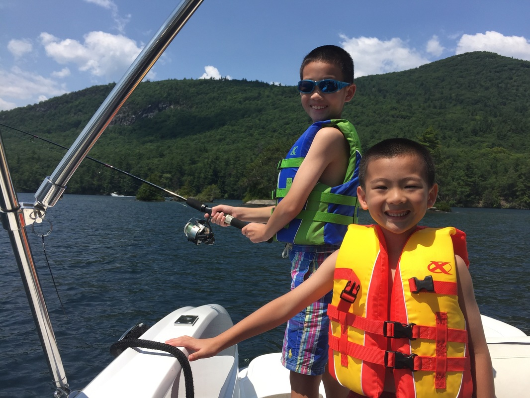 Kids fishing on Lake George
